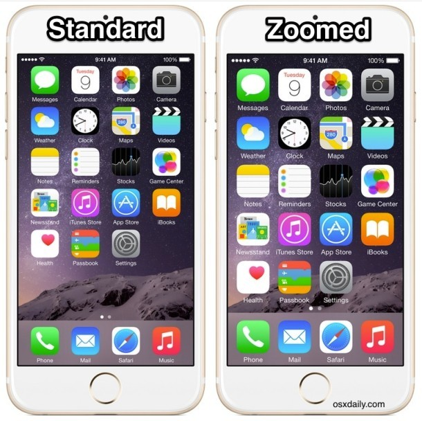 Режим iPhone Standard vs Zoomed