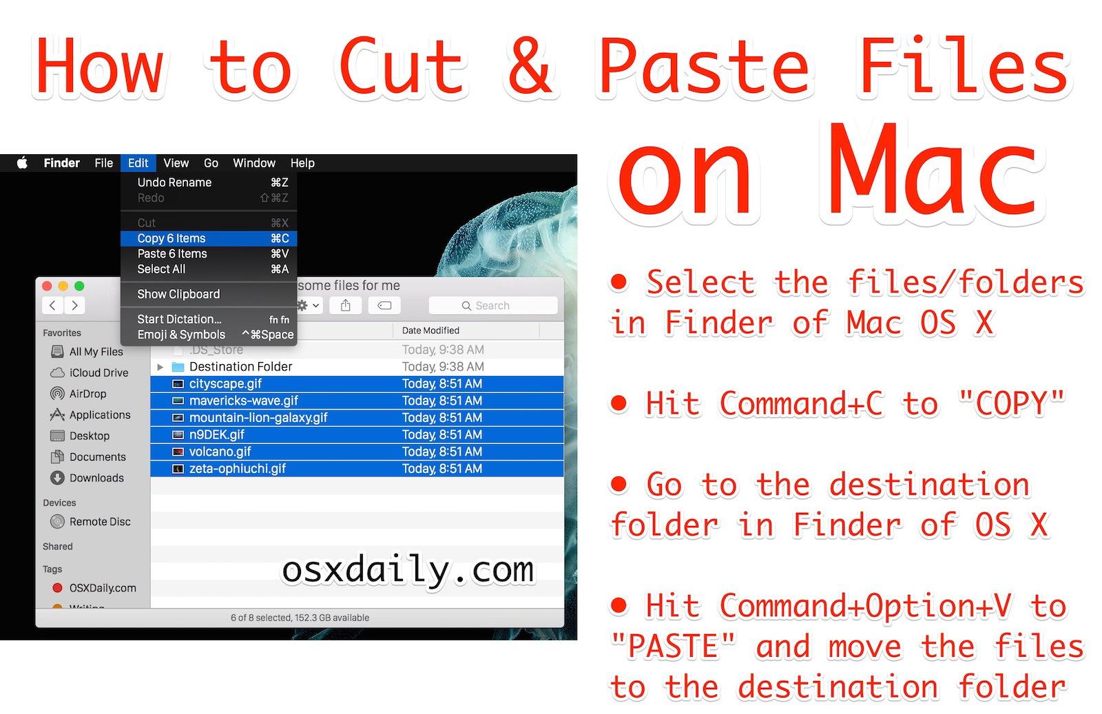 Как вырезать и вставлять файлы в Mac OS X