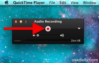 Запись звука на Mac с помощью QuickTime Recorder