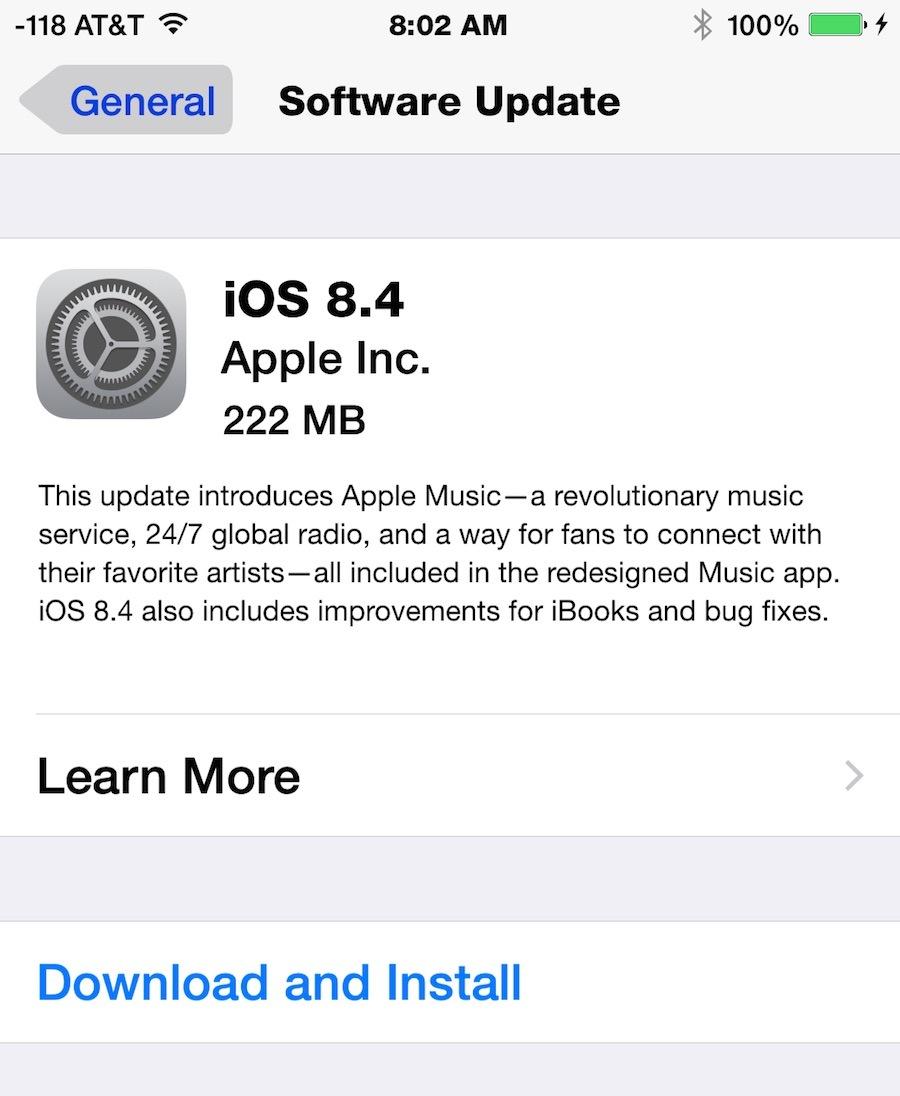 Обновление для iOS 8.4