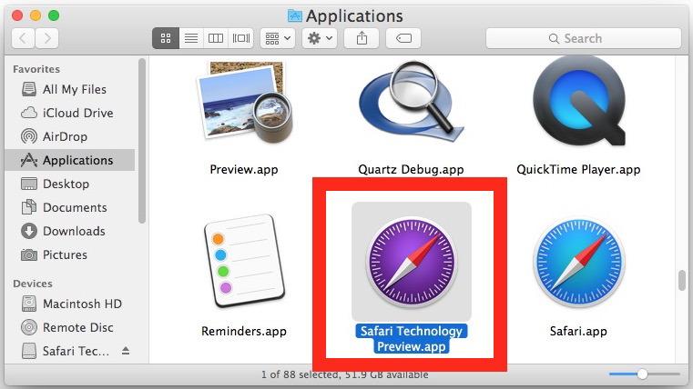 Технический просмотр Safari на Mac